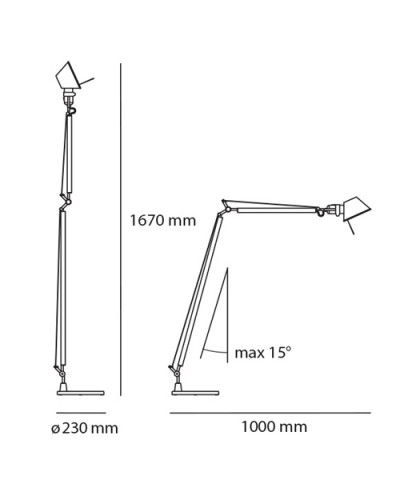 Tolomeo Reading Floor A013900 size